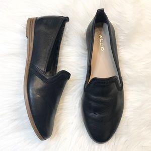 Aldo black leather almond toe slip on flats